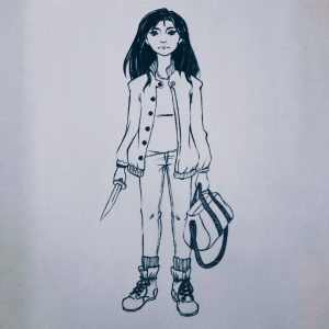 Warrior girl - inked