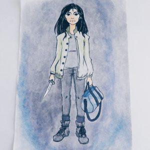 Warrior girl - watercolor