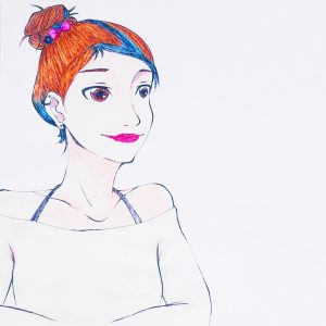 Girl Pen and Watercolor Drawing - Plethoric Thoughts
