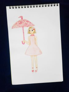 Pink Flamingo Girl Drawing - Plethoric Thoughts
