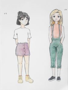 Two Girls Watercolor Drawing