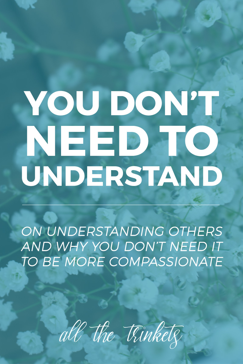 You Don't Need To Understand | I share another story and why I no longer think understanding others is what we need to be compassionate to others.
