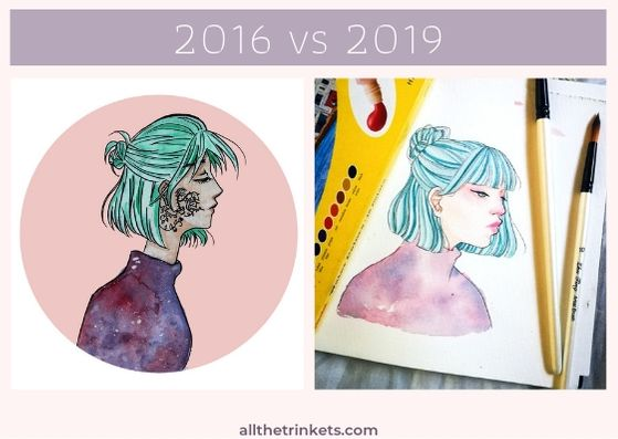 "Two pictures of two girls both with short turquoise hair, the half up styled in  a mini bun. She is wearing a purple galaxy turtleneck. A white text above on a plum rectangle says, ""2016 vs 2019."" Image linked to related Instagram post."
