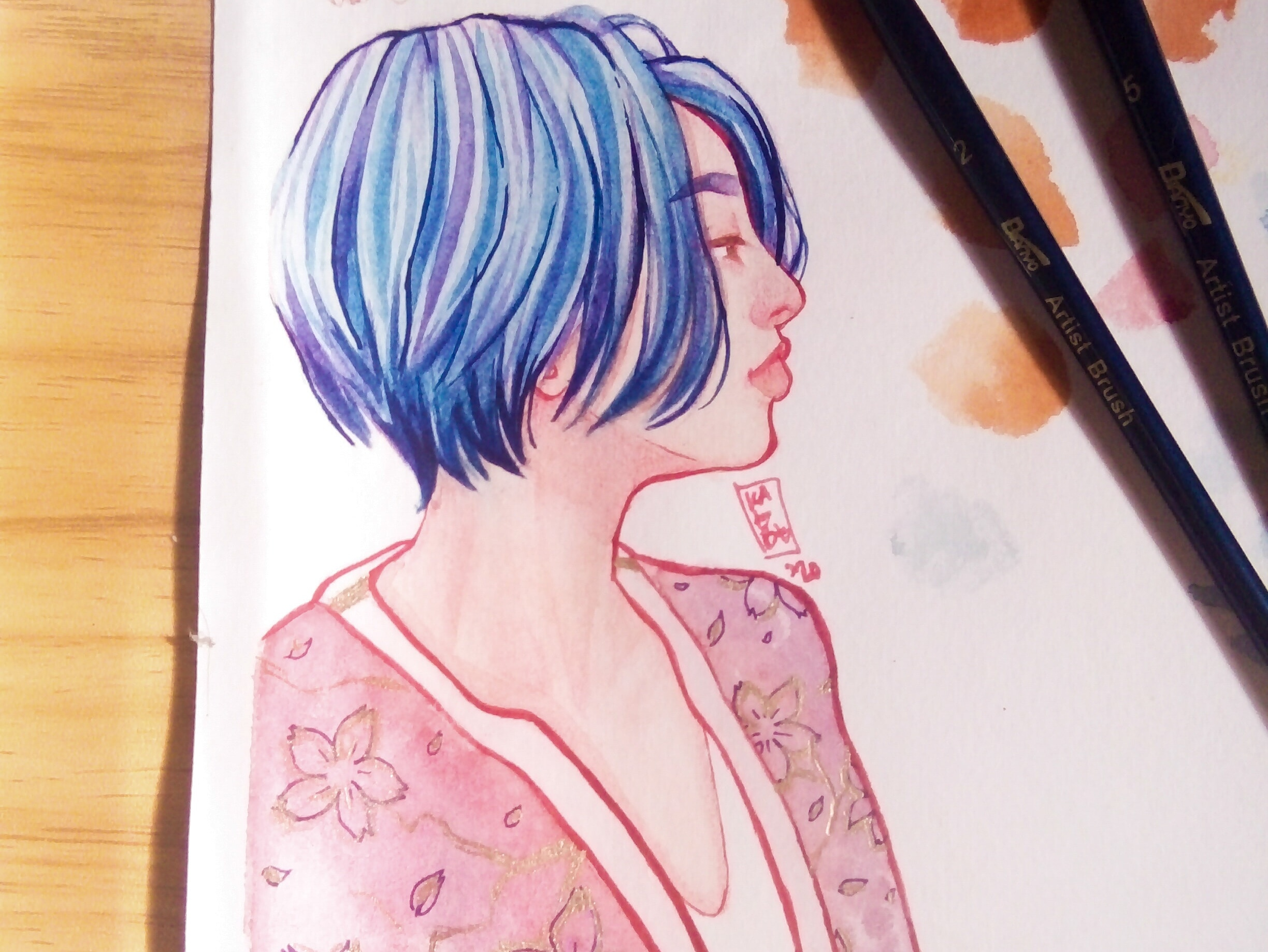 painting of a blue haired girl wearing a long pixie hair cut
