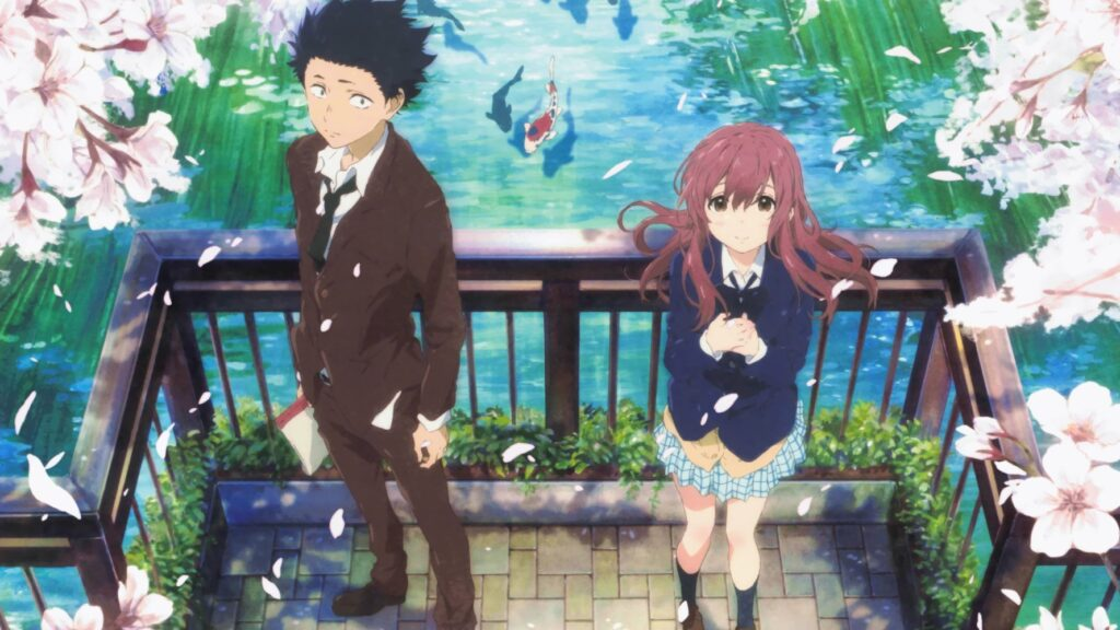 anime, a highschooler boy and girl standing on a bridge