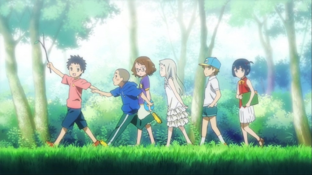anime, a group of kids walking in the woods