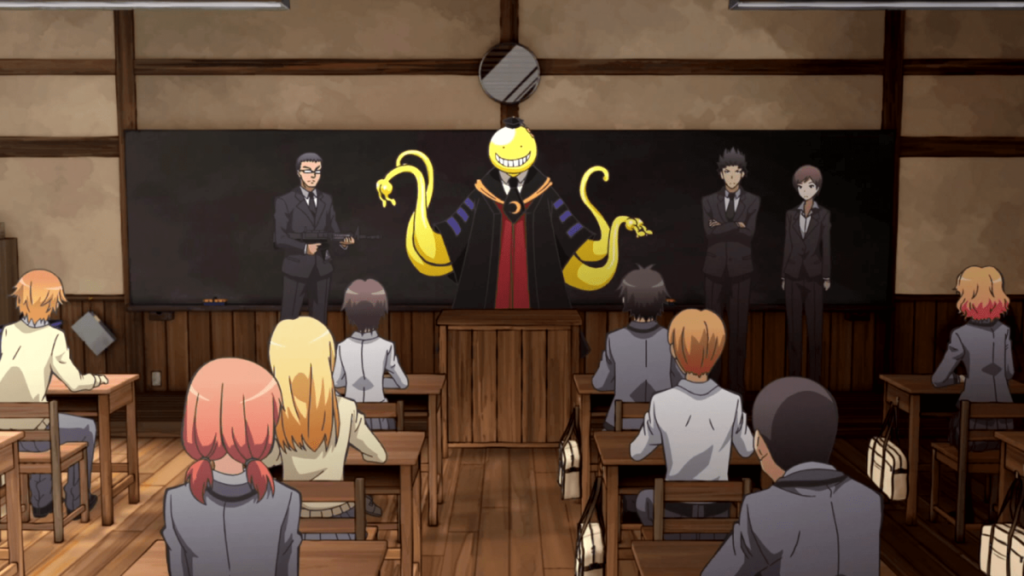 a classroom with a yellow creature in front