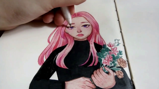 watercolor mixed media portrait of a girl with pink hair and holding flowers